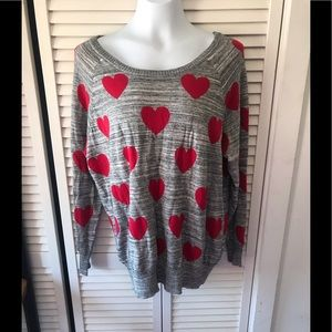 Torrid Red Heart Sweater NWOT